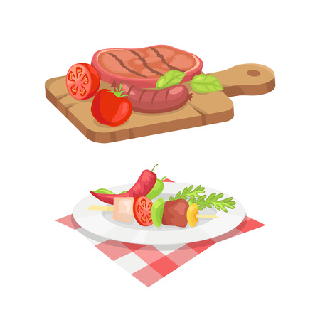 Beefsteak and skewer isolated icons vector set. Roasted cooked well done meat served on wooden board. Plate with vegetables pepper herbs and dish