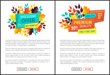 Exclusive offer only one day posters set with text sample. Autumn reduction of prices seasonal proposition. Premium discounts off and quality vector