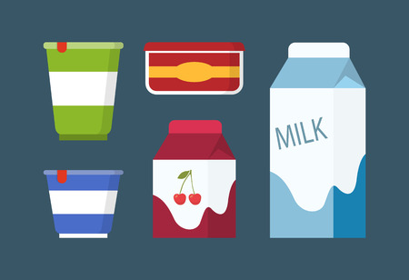 Dairy products set in carton packs vector flat design. Cardboard packages of milk and yoghurt with cream and butter box with label in cartoon style