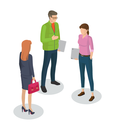 Businesswoman and man developers meeting with lady boss. 3D isometric icons of people of different professions executive manager isolated on vector Ilustrace
