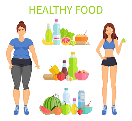 Healthy food woman and meal vector. Sportive female with apple, active lifestyle. Obesity and healthcare of lady, food sets of fruits and veggies Illustration