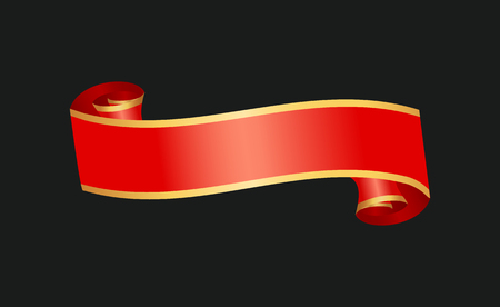 Decorative red ribbon banner, isolated vector badge. Ready for text, glossy horizontal string, scrolled and curly strip, with shiny golden frame.