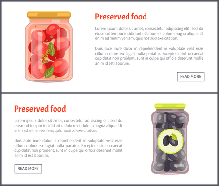 Preserved vegetables banners, canned food. Tomatoes with bayleaves in marinade and Greek olives inside jar web pages templates vector illustrations. Stok Fotoğraf - 127533521