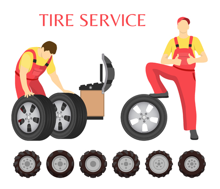 Tire service vector emblem in cartoon style. Workers in uniform with set of new wheels for changing, computer and control panel for diagnostic isolated Vetores