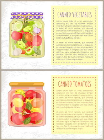 Canned tomatoes pickled vegetables mix in glass jars vector illustration. Zucchini and cucumbers, onion and dill, garlic and bay leaves preserved food 일러스트