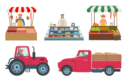 Woman and Man Selling Products Vector Illustration Stock Photo