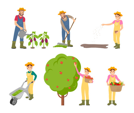 Farming Man and Woman Set Vector Illustration Stock Photo