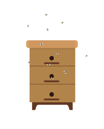 Homemade Beehive with Bees Isolated Cartoon Icon Standard-Bild - 112468921