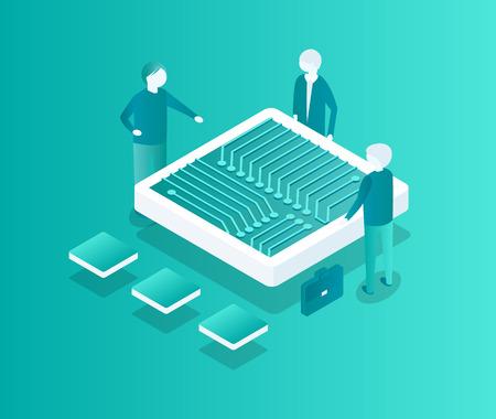 Blockchain Meeting of People Vector Illustration 版權商用圖片