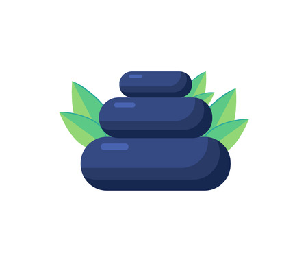 Pile of Stones, Aromatic Herbs Vector Illustration