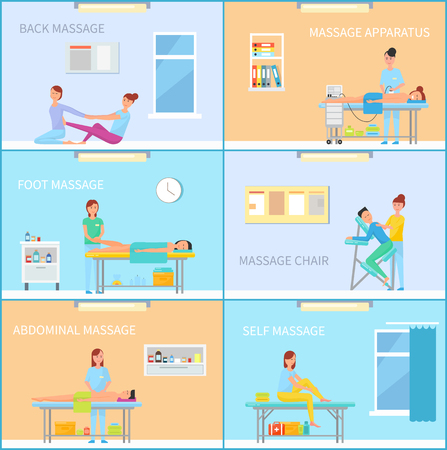Back and foot, abdominal and self, with apparatus and on chair relaxing. Massage cabinet interiors while session of treatment cartoon banner set vector.