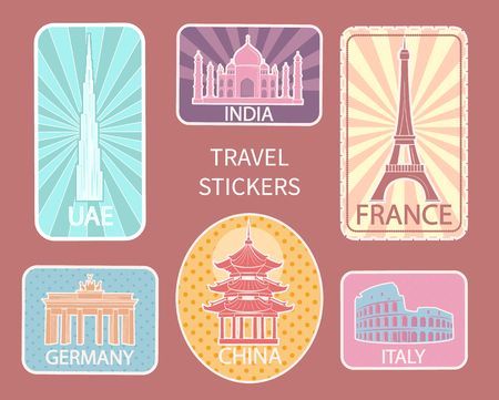 Travel stickers of different places of interest set vector. France and Germany, Italy and Berlin, historical buildings and constructions in cities