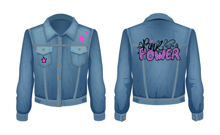 Punk power denim jeans jacket. Stylish clothing for girls with patches and pockets. Fashionable clothing with red heart and crown vector illustration Illustration