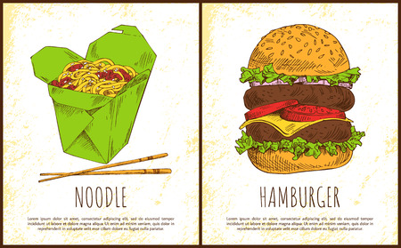 Noodle and hamburger fast food colorful posters isolated on white backdrop pasta with meat in green package and huge burger with two juicy cutlets Illustration