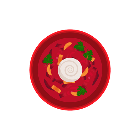 Borsch traditional dish in bowl served with sour creme. Food made of vegetables and meat. Carrot and beetroots natural ingredients vector illustration