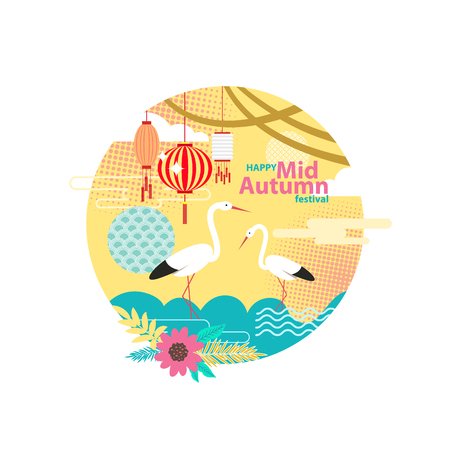 Happy mid autumn festival poster with standing storks and flowers in blossom. Dotted pattern and sky with hanging lanterns. Floral elements vector