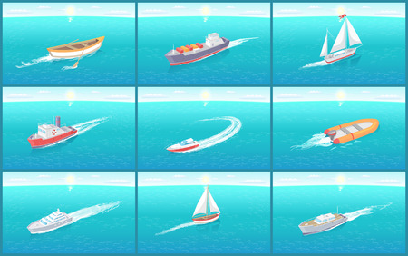 Water transport travel means boats set vector. Sailing and ships for cargo transportation, box shipments. Inflatable rubber vessel for fishing people Иллюстрация