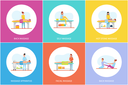 Back and self, hot stones massage icons set vector. Specialists with clients massaging body parts. Face care and special apparatus usage by masseuses Иллюстрация