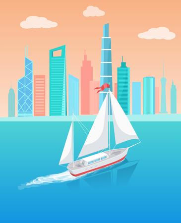 Ship with white canvas sailing in deep blue waters and leave trace vector illustration isolated. Modern yacht marine nautical personal sail boat icon  イラスト・ベクター素材