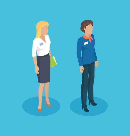 Secretary woman manager set 3d isometric icons of professions. Businesswoman chief executive with document in hand. Director female isolated on vector