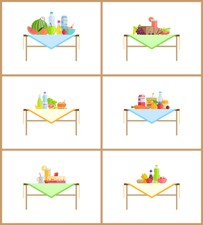Food as still life composition for photo. Fruits and vegetables or dishes on table with napkin. Healthy food and desserts vector illustrations set. Foto de archivo - 127461970