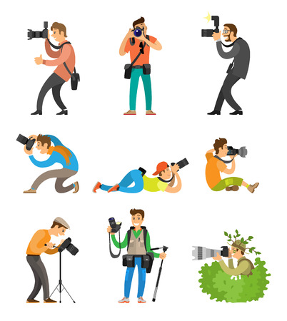 Photographers or photojournalists with cameras on tripod taking shots from bottom, above and front angle. Photo reporter in bush vector illustration.