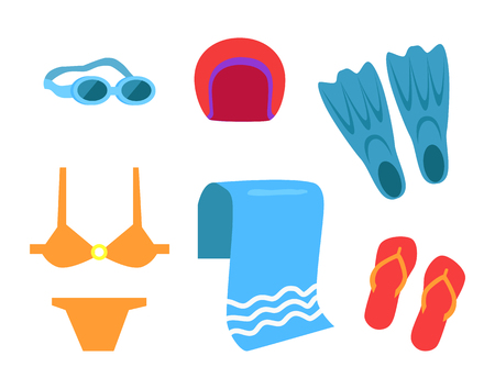 Swimming equipment vector icon cartoon style. Flippers and towel, glasses and swimsuit, hat and flip-flops, isolated simple emblem, protection tools Illustration