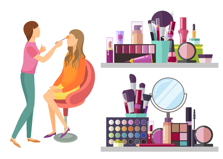 Visage makeup visagiste professional isolated icons vector. Mirror and brushes, foundation and lotions, palette of eyeshadow and lipstick for client