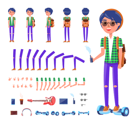 Young teenager with hoverboard isolated icons set vector. Boy with have, mobile phone, headphones and guitar musical instrument. Backpack and gestures