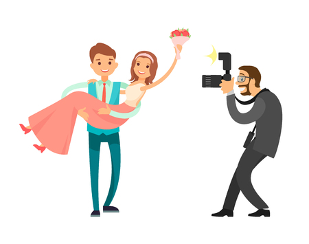 Professional photo session of newlywed couple, groom holding bride on hands vector illustration isolated. Photographer taking pictures of just married couple