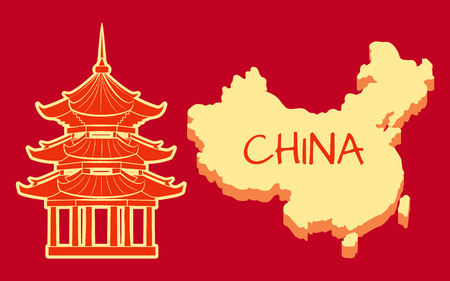 China Poster with Building and Country Vector