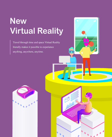 New Virtual Reality Cartoon Banner with Gadgets Illustration