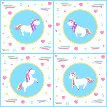Unicorns design of mythological creature with one big horn on head vector. Set of funny horses with rainbow hair and drawn hearts, flowers and stars Standard-Bild - 112476573