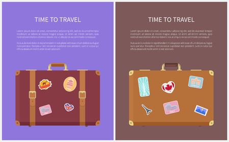 Time to travel luggage with stickers, posters with text sample set vector. Egypt and Germany, French Eiffel tower and Chinese architectural style