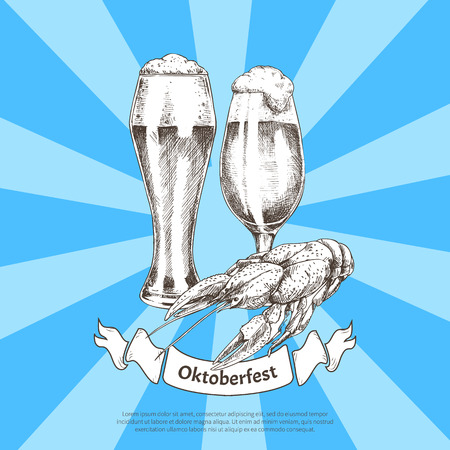 Oktoberfest color banner isolated on striped blue, vector illustration of two full glass goblets with frothy beer and roasted crayfish, snack and ale