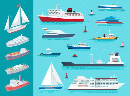 Le navi da trasporto d'acqua che viaggiano significano set vettoriale. Barca a vela e boe, nave da crociera di grandi dimensioni, nave da carico e traghetto sulla superficie del mare