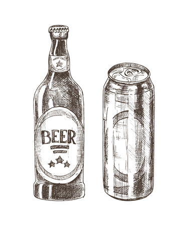 Beer bottle and can isolated on white backdrop, vector illustration of glass and metal containers for alcohol beverage, ale set drawing made by pencil 일러스트