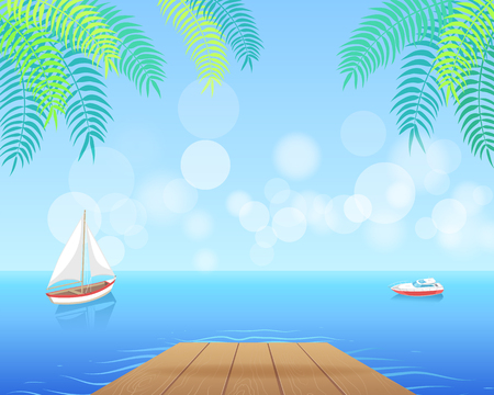Sail boat with white canvas sailing in deep blue waters and leave trace vector deck in tropics. Modern yacht marine nautical personal ship icon Ilustração