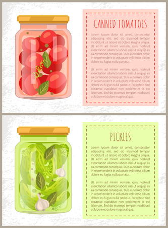 Canned Tomatoes and Pickles Vector Illustration Stok Fotoğraf - 112693874
