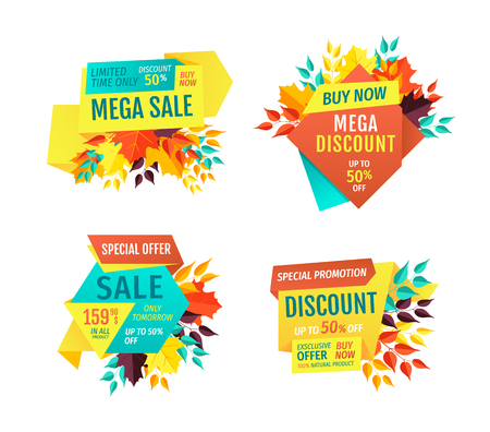 Mega sale exclusive products sellout. Clearance autumnal super discounts limited time only. Merchandise of goods promotional proposition set vector