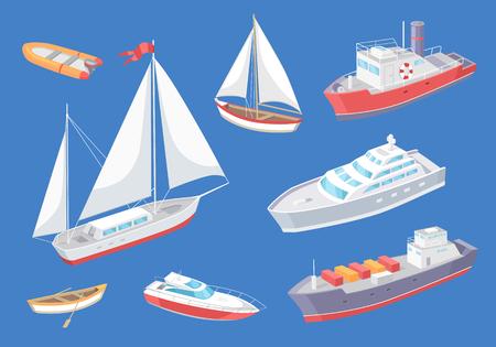 Vector de buque de viaje de transporte de agua. Conjunto de varios tipos de medios de transporte para pasajeros. Grandes distancias, velero y carguero