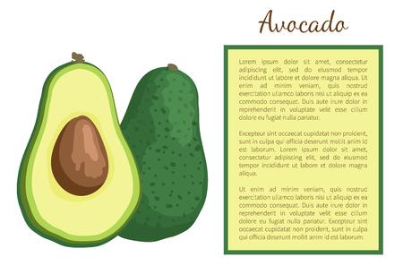 Avocado oder Alligatorbirne exotische saftige Früchte ganz und geschnittener Vektorplakatrahmentext. Tropisches essbares Essen, Diätgemüse voller Vitamine, Ernährungsdessert Vektorgrafik