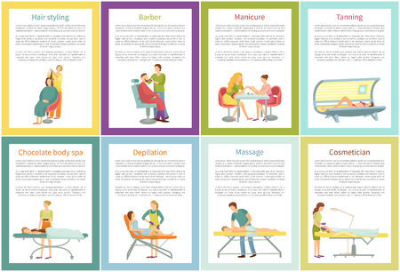 Hair styling and tanning tan posters set with text sample vector. Depilation and massage, expert masseur, cosmetician and manicurist woman specialist 일러스트