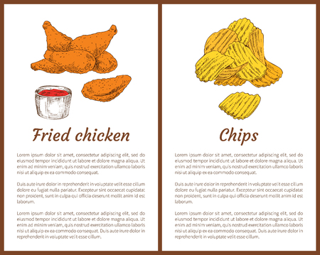 Fried chicken served with ketchup sauce in bowl and potatoes slices chips posters set. Fast food dishes with info about meal below vector illustration