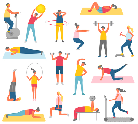 Characters doing fitness with sport items. Rubber ball, big hula hup, heavy weight or dumbbells, running track and exercise bike vector illustrations.