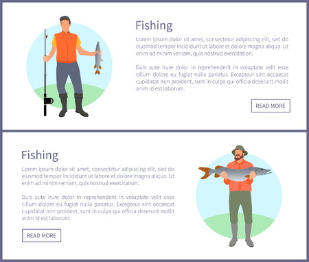 Fishing fisherman with rod and fish vector illustration. Standing fishers in sportswear with fish-rod, just caught big trout isolated on landscape  イラスト・ベクター素材