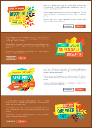 Special promotion discount with autumn leaves foliage set. Posters offers from shops seasonal clearances and propositions. Stores reductions vector
