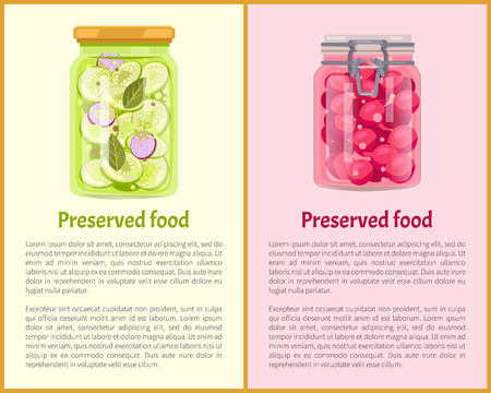 Preserved fruit and vegetables set vector illustration. Sweet cherry jam and pickled salt salad of sliced goods in glass jars, container food poster