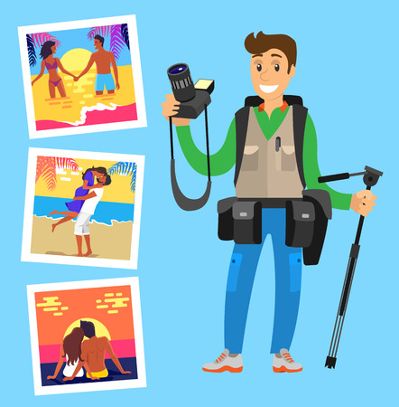 Photographer with tripod on background of his works pictures of happy couples resting on beach. Lovers at sunset, hugging at coastline, meeting sunrise Illustration