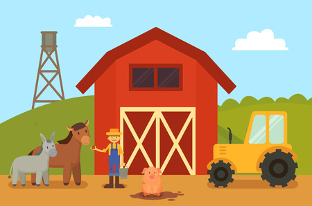 Farm and Animals Livestock Vector Illustration
